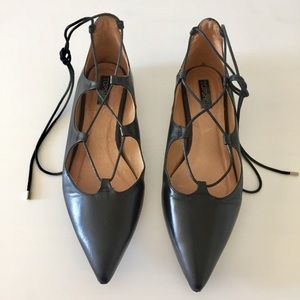 Lace up pointy toe flat